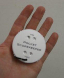Pocket Scorekeeper in hands
