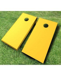 painted cornhole boards yellow