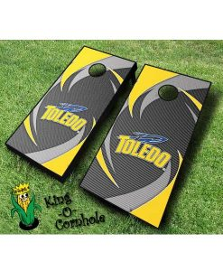Toledo rockets NCAA cornhole boards Swoosh