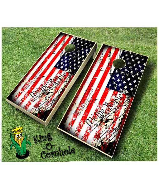 american flag grunge constitution cornhole boards