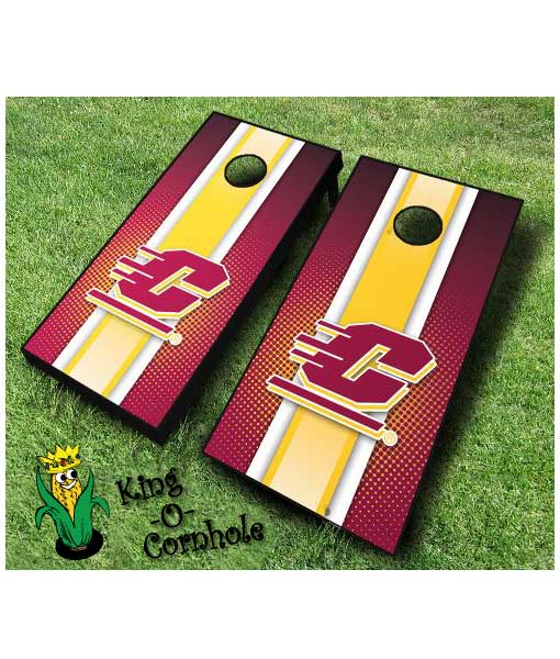 central michigan Chippewas NCAA cornhole boards-Stripe