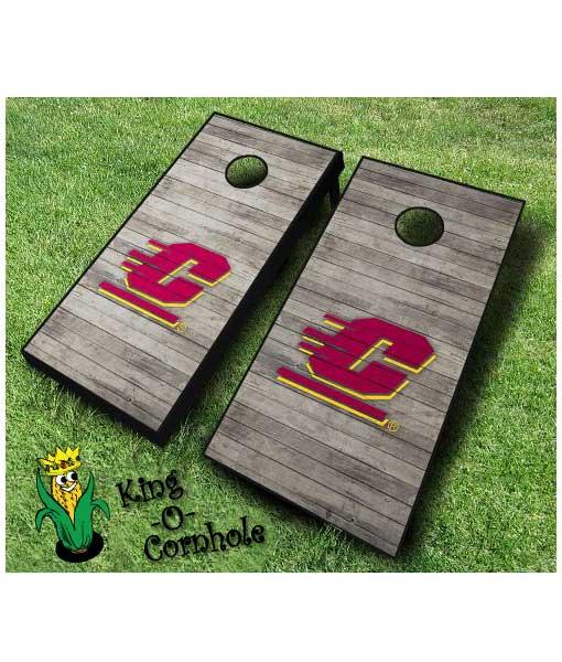 centra michigan Chippewas NCAA cornhole boards Distressed