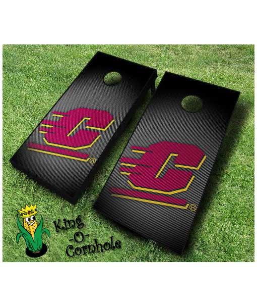 central michigan_Chippewas NCAA cornhole boards Slanted