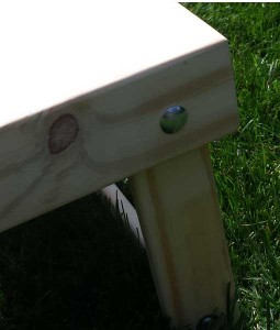 Cornhole boards mitred frame detail