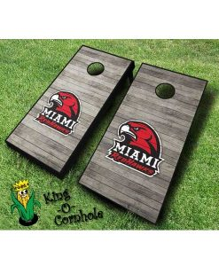 miami redhawks NCAA cornhole boards Distressed