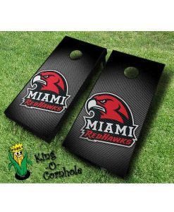 miami redhawks NCAA cornhole boards Slanted