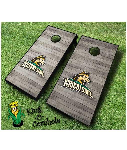 wright state raiders NCAA cornhole boards Distressed