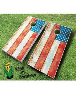 distressed american flag cornhole boards