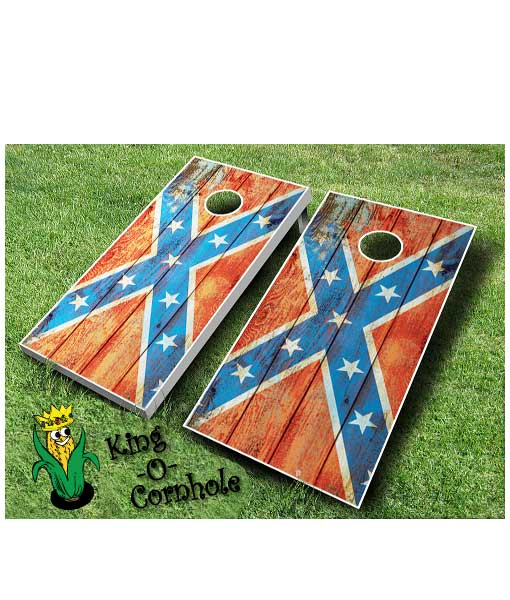 Distressed Confederate Flag Cornhole Boards