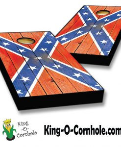 distressed confederate flag cornhole boards set