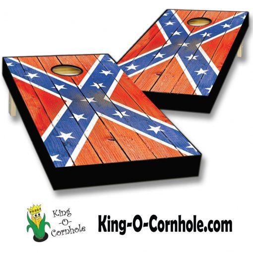 distressed confederate flag cornhole boards set