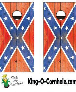distressed confederate flag cornhole detail