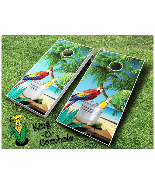 Parrot Beach cornhole board game set