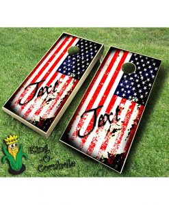 Vintage American Flag with Text Cornhole Board Set