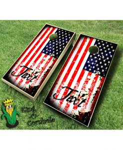 American Flag Grunge with Text Cornhole Boards