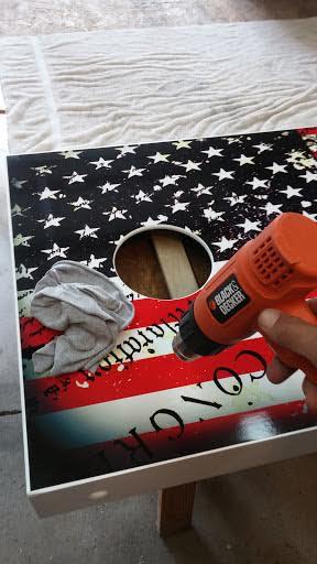 Finish Cornhole Board Wrap Install Using Heat Gun