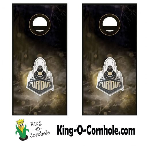 Purdue Boilermakers Smoke Cornhole Boards Detail